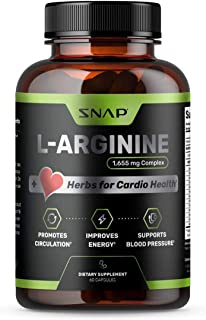 Snap L Arginine Supplement 1655mg with Nitric Oxide, L Citrulline, Natural Energy & Blood Circulation Supplements, L-Argin...