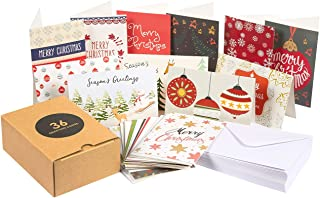 36-Pack Merry Christmas Holiday Greeting Cards Bulk Box Set - Assorted Winter Holiday Xmas Greeting Cards in 36 Unique Designs, Envelopes Included, 4 x 6 Inches