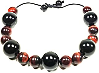 Handmade Red Tiger Eye - Onyx - Obsidian Leather Bracelet 10mm 16mm Natural Gemstones (AURAS BY OSIRIS)