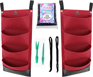 2 Pack x 4 Pocket Vertical Wall Hanging Grow Bags / Red Felt Waterproof Back / Smart Planter Garden Kit for Indoor and Out...