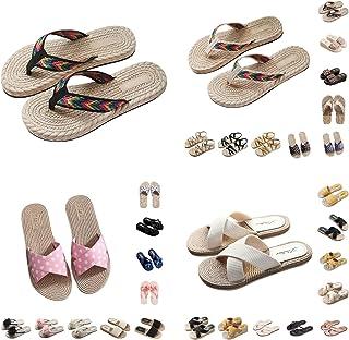 Sandales Plates Femmes Mode Chaussures d'été Sandale Pas Cher Confortables Pantoufles de Jolie Poids Léger Bas à Talons To...