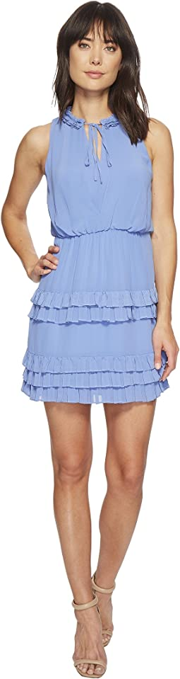 Front Tie Ruffle Tiered Detail Dress