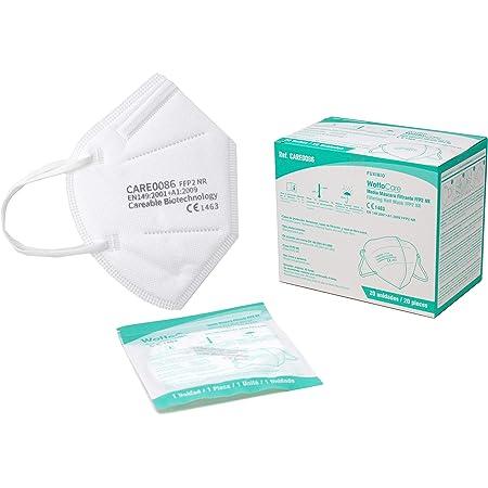 WottoCare Mascarilla FFP2 CE 0598, Mascarilla de Protección Personal. 5 capas. Mascara KN95 Alta Eficiencia Filtración, Caja 20 Unidades CE 0598 + Normativa GB2626-2006