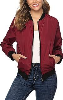 comprar comparacion Aibrou Chaqueta Bomber Mujer,Cazadora Moto Jacket Mujer,Casual Uniforme Beisbol con Cremallera
