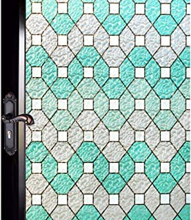 DUOFIRE Decorative Film Privacy Window Film Stained Glass Film No Glue Anti-UV Removable Window Cling Non-Adhesive Window Privacy Film D95011, (11.8in. x 78.7in.) 30cm x 200cm