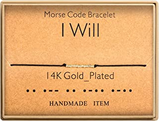 I Will Morse Code Bracelet 14k Gold Plated Beads on Silk Cord Friendship Bracelet Gift for Her