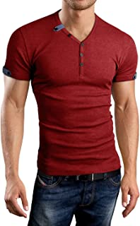 Aiyino Mens Casual V-Neck Button Cuffs Cardigan Short Sleeve T-Shirts