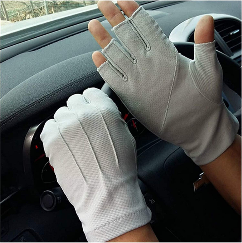 GUYANMAY Lace Gloves 2019 Men's Fingerless Anti-Slip Driving Gloves Women Sunscreen Gloves Summer Male Slim Breathable Anti-UV Cycling Gloves (Color : Licht Grau, Gloves Size : Einheitsgröße)