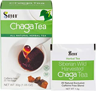 Sayan Siberian Chaga Mushroom Tea Organic Antioxidant Caffeine Free, Raw and Extract Blend, No Fillers Unbleached 20 Bag, ...