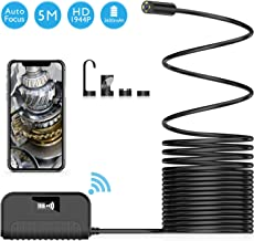 Wireless Endoscope VITCOCO, WiFi Borescope Auto Focus Inspection Camera 5.0 Megapixels 1944P HD Snake Camera 2600mAh Battery for Android and iOS Smartphone, iPhone, Samsung, Tablet -Black(16.4FT)