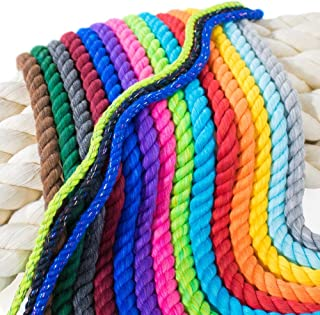 Twisted 3 Strand Natural Cotton Rope Artisan Cord – 1/4, 1/2, 5/8, 3/4, and 1 inch Diameters – Super Soft White and Assorted Colors by The Foot – 10', 25', 50', 100' and Full Spools