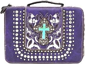 Bible Cover Western Bible Book Case Messenger Bag Embroidery Rhinestone Cross Purple