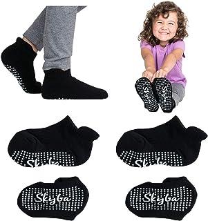 Calcetines antideslizantes para infantiles, niños y niñas (4 pares - negros)