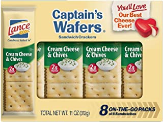 Lance Captain's Wafers Cream Cheese and Chives Sandwich Crackers, 8-Count Boxes (Pack of 14)