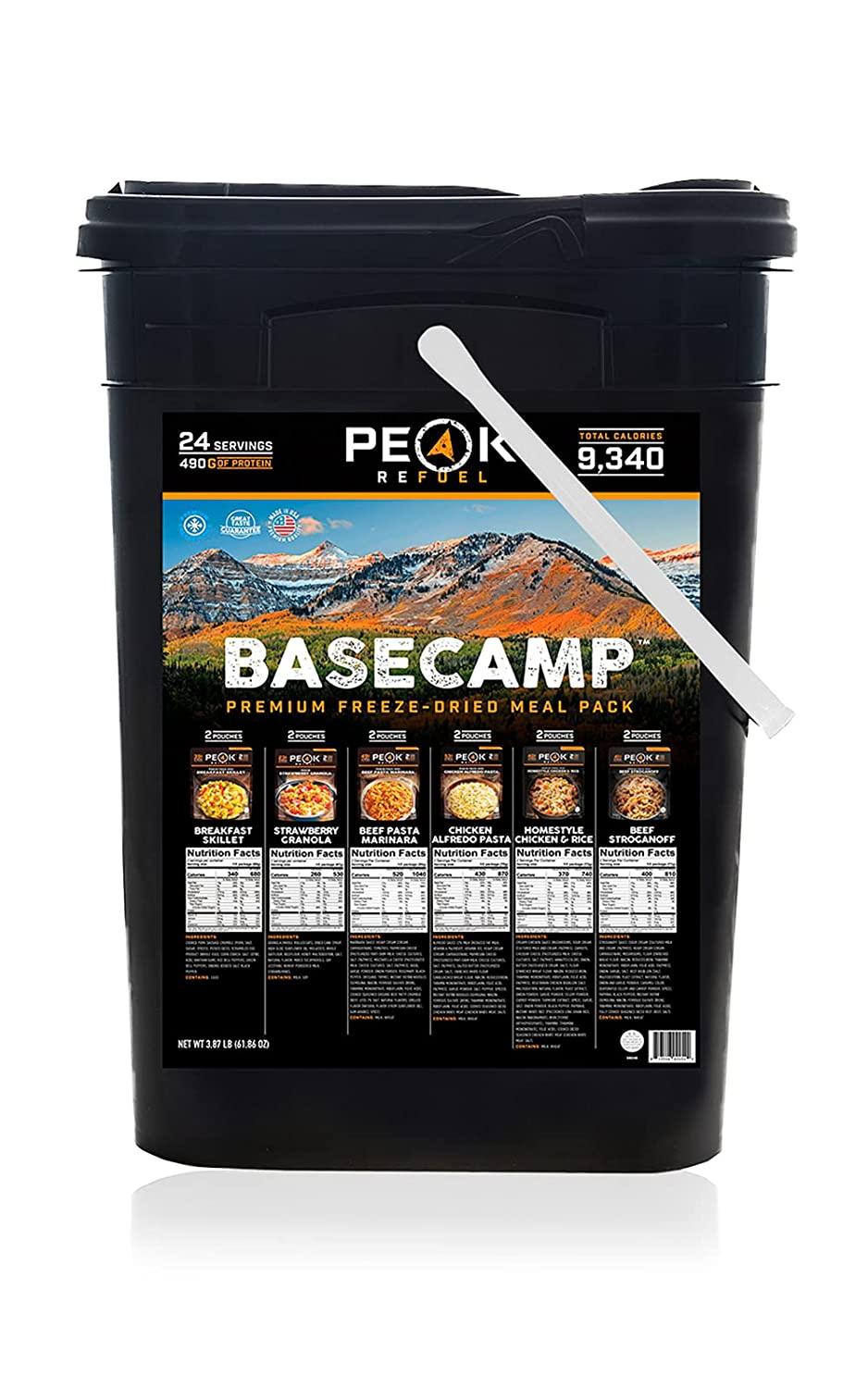 Peak Refuel Basecamp Bucket | Premium Freeze Dried Variety Meal Pack | Backpacking and Camping Food | 100% Real Meat | High Protein and Calories | MRE | 24 Servings