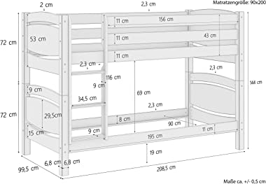 Erst-Holz Lit superposé séparable, pin Massif Naturel 90x200 sommier à Lattes en Bois et Matelas 60.13-09Ni70M