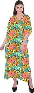 RADANYA Women Floral Print Kaftan Loungewear Long Caftan Beach Dress Bikini Swimsuit Cover up