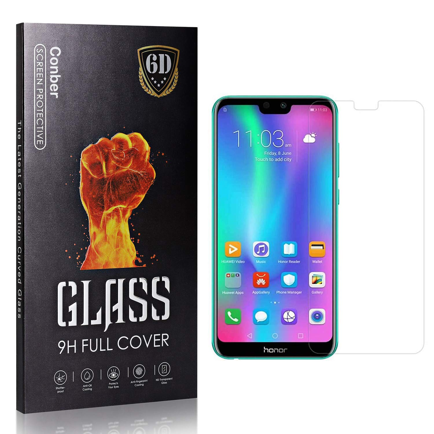 Conber 3 Pack Screen Max 76% OFF Protector for Charlotte Mall Honor 9I Huawei G Tempered