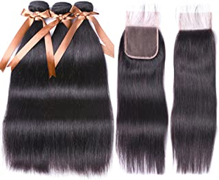 Allrun Hair Straight Hair Bundles with Closure(20 22 24+18 Closure)100% Brazilian Straight Virgin Hair 3 Bundles with Lace Closure Free Part Human Hair Extensions Natural Black Color