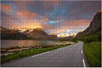 1000 Piece The Most Beautiful Fjord Road in Northern Norway Spectacular Sunset Large Piece Jigsaw Puzzles for Adults Educa...