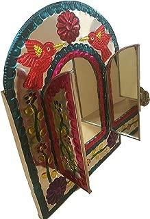Casa Fiesta Designs Embossed Tin Mirror Mexican Folk Art Wall Decor Handmade - with Stand 10.5