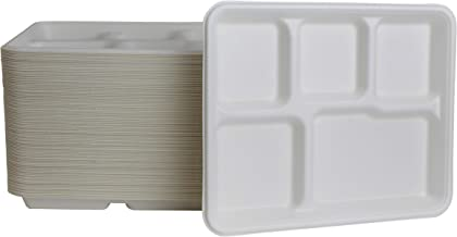"Brheez Eco-Friendly 5 Compartment 8""x10"" Disposable School Tray - Made from Bagasse Sugar Cane Fiber - Biodegradable, Compostable & Chemical Free - Pack of 50"