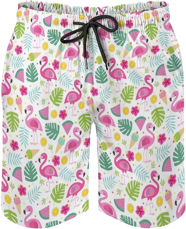 SWEET TANG Men's Swim Trunks Long Board Shorts Beach Swimwear Bathing Suits with Pockets, Tropical Palm Tree Banana Leaves Pink Flamingo