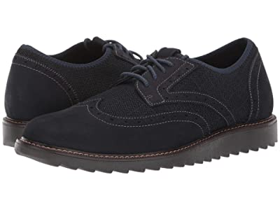 Dockers Hawking Knit/Leather Smart Series Dress Casual Wingtip Oxford with NeverWet (Navy Textile/Nubuck) Men
