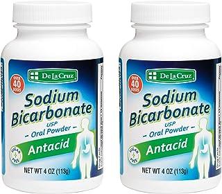 De La Cruz Pure Sodium Bicarbonate, USP Grade, Antacid Powder, Packed in USA 4 OZ. (2 Bottles)