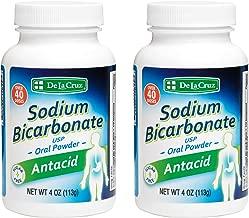 De La Cruz Pure Sodium Bicarbonate, Food & USP Pharmaceutical Grade, Antacid Powder, Packed in USA 4 OZ. (2 Bottles)
