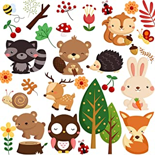 DEKOSH Kids Wild Safari Animal Wall Stickers for Nursery Decoration | Jungle Theme Peel & Stick Owl Woodland Nursery Wall Decals for Baby Playroom Decor