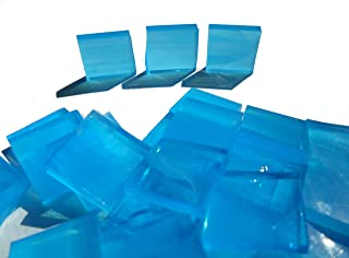 FortySevenGems 100 Pieces Stained Glass Mosaic Tiles 1/2-Inch Light Blue and White Glass