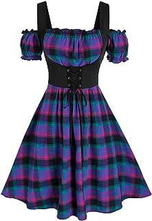 Celucke Women's Halloween Dress, Plus Size Cold Shoulder Butterfly Sleeve Lace Up Dress