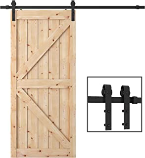 TCBunny 6.6 Feet Sliding Barn Door Hardware Kit Superior Quality Track Kit Antique Style (Black)