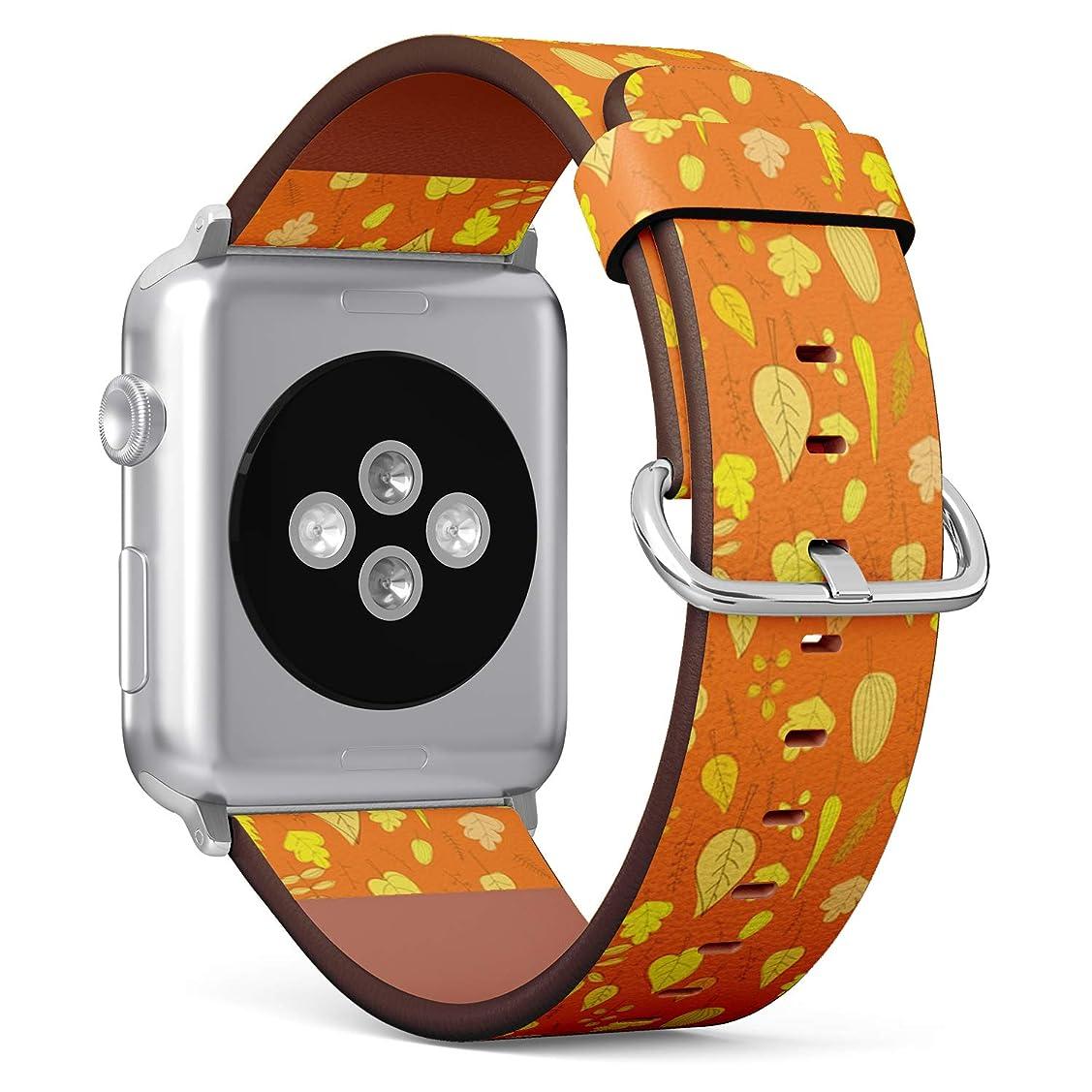 雄大な等価モットーコンパチブル Apple Watch iWatch 42mm & 44mm - 本革レザーストラップ, 向けのバンド交換ストラップです コンパチブル アップルウォッチ バンド (秋の葉)