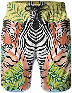 SARA NELL Men's Swim Trunks Zebra and Tiger with Tropical Leaves Sun Mirror Surfing Beach Board Shorts Swimwear