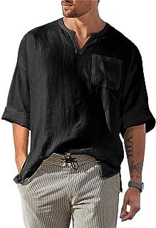 FUERI Mens Hippie T Shirt Long Sleeve Shirts V Neck Fashion T Shirt Cotton Casual Tops
