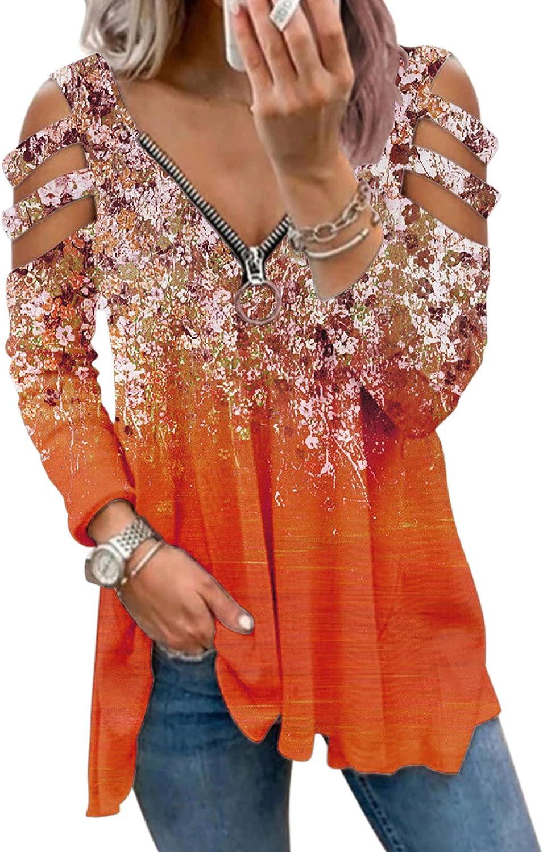 Women Long Sleeve Shirts,Kirbyates Women's Color Block Hooded Long Sleeve Pullover Jacket Sweatshirts Zip-Up Hoodie Jacket for Women with Pockets Orange