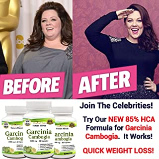 Garcinia Cambogia Extract Weight Loss Supplement - 100% Pure - 85% HCA - 1000 mg Capsules, 180 Diet Pills - All Natural, No Additives - Appetite Suppressant - Organic- 90 Day Supply