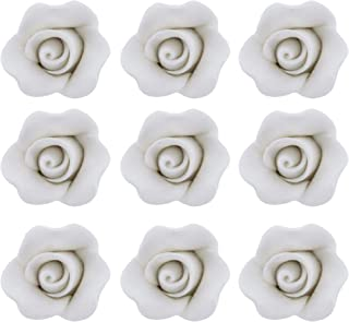 Global Sugar Art Rose Sugar Cake Flowers White, Unwired Small, 18 Count by Chef Alan Tetreault