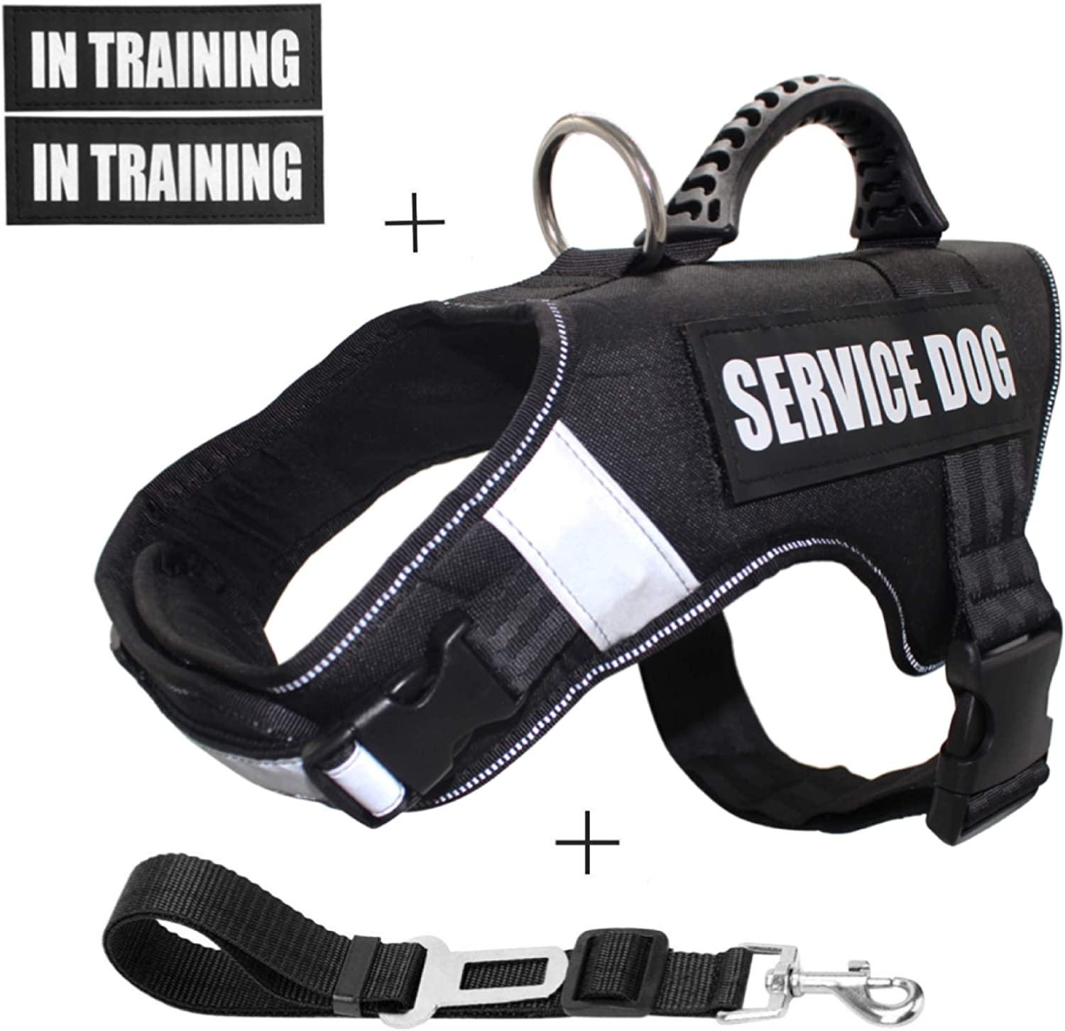 Praised Service Dog Vest Harness,Dog Training Vest Features Reflective Patch and Comfortable Mesh Design from,Adjustable Nylon Removable Reflective Patches 4PCS+Car Seat Belt Lead Clip(L Size, Black)