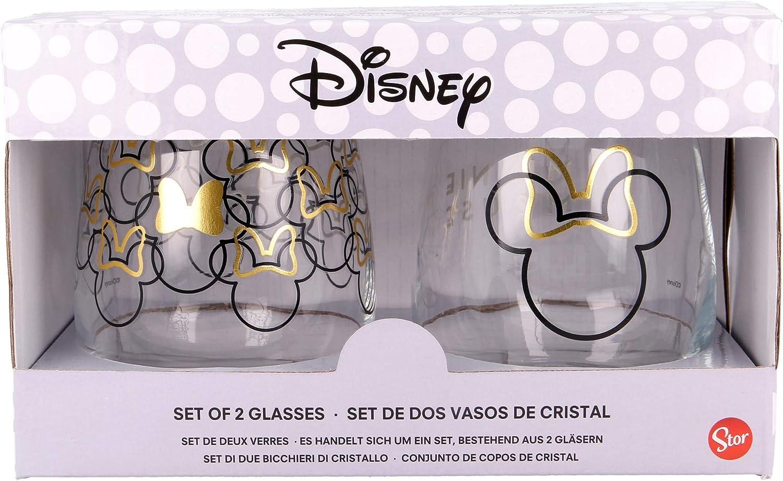 Minnie | Juego De Vasos De Agua- Vaso Set 2 Piezas De Cristal - Vaso Clásico Con Grabado Para Licores, Cócteles Y Zumo - 510 Ml