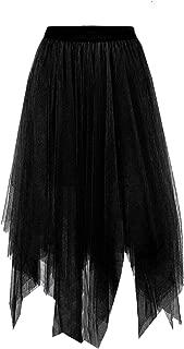 Joeoy Women's Elastic Waist Ballet Layered Princess Mesh Tulle Midi Skirt