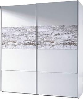 Habitdesign ARC181BO - Armario corredera Vintage Acabado Blanco Brillo y Decapé Medidas: 180 cm (Ancho) x 200 cm (Alto) ...
