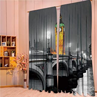 ZHICASSIESOPHIER Modern Style Room Darkening Blackout Window Treatment Curtain Valance for Kitchen/Living Room/Bedroom/Laundry,Westminster Bridge at Night in UK Street River 84Wx95L Inch