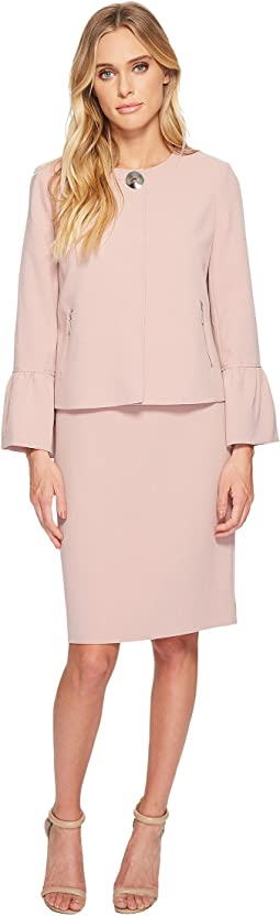 Crepe Skirt Suit w/ Tulip Sleeve