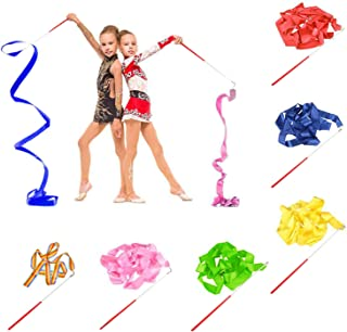 BEIFON 6 Stück 2 Meter Regenbogen Gymnastikband Tanzband mit Stab Rhythmikband Turnband..