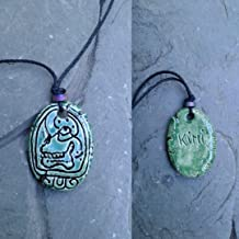 Mayan KIMI Necklace Mesoamerican Tzolk'in Day Sign Skull Glyph Ceramic Amulet Turquoise Green Clay Pendant