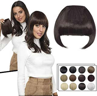 Clip in Bangs Fringe Hair Extensions with Temples Synthetic Fashion Hair-pieces Meidum Brown