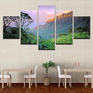 ملصق فني جداري من القماش مطبوع لتزيين غرفة المعيشة 5 قطع من TYUIOP صورة منظر طبيعي لغروب الشمس